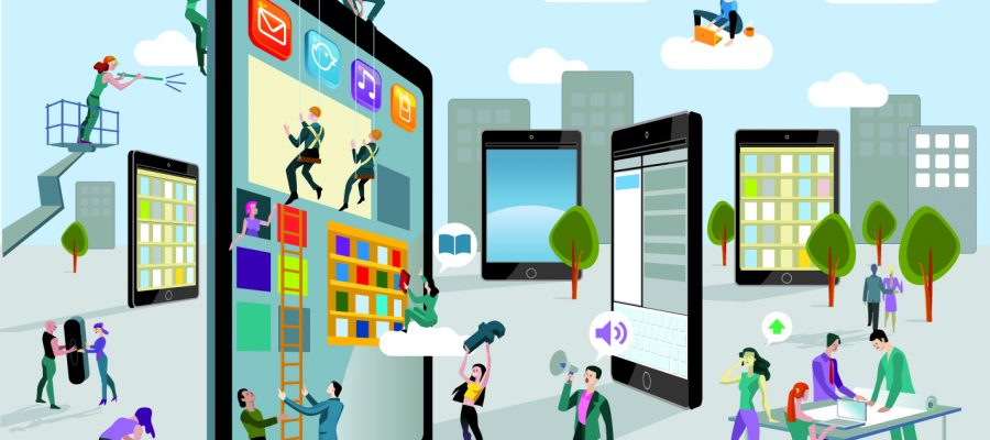 A team of people work creatively together building giant digital tablets, like skyscrapers, and creating the content. Other people download this content on their mobile devices. Horizontal composition.